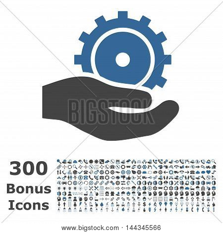 Development Service icon with 300 bonus icons. Vector illustration style is flat iconic bicolor symbols, cobalt and gray colors, white background.