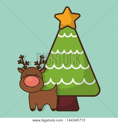 reindeer deer pine tree cartoon merry christmas decoration celebration con. Colorful and flat design. Vector illustration