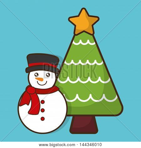snowman pine tree cartoon merry christmas decoration celebration con. Colorful and flat design. Vector illustration