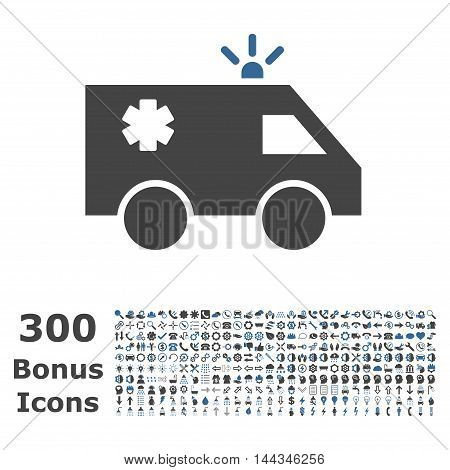 Emergency Car icon with 300 bonus icons. Vector illustration style is flat iconic bicolor symbols, cobalt and gray colors, white background.