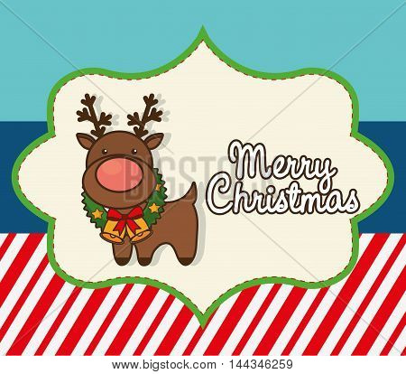 reindeer deer cartoon merry christmas decoration celebration con. Colorful and flat design. Vector illustration