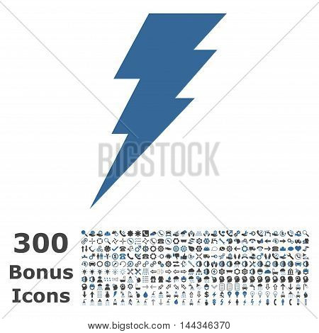 Execute icon with 300 bonus icons. Vector illustration style is flat iconic bicolor symbols, cobalt and gray colors, white background.