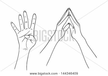 Hand collection vector line illustration on white background