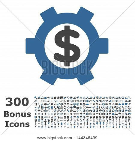 Financial Settings icon with 300 bonus icons. Vector illustration style is flat iconic bicolor symbols, cobalt and gray colors, white background.
