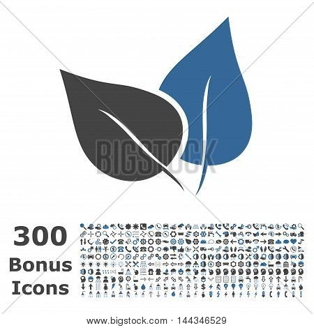 Flora Plant icon with 300 bonus icons. Vector illustration style is flat iconic bicolor symbols, cobalt and gray colors, white background.
