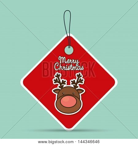 reindeer deer label cartoon merry christmas decoration celebration con. Colorful and flat design. Vector illustration