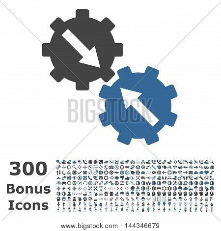 Gear Integration icon with 300 bonus icons. Vector illustration style is flat iconic bicolor symbols, cobalt and gray colors, white background.