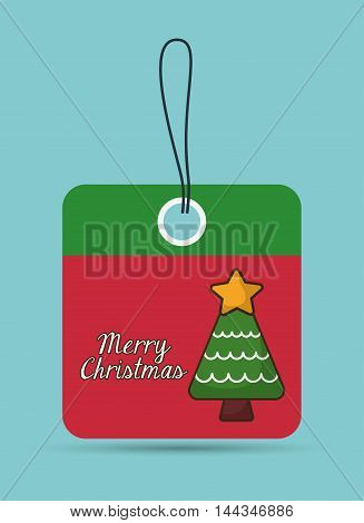 pine tree star label merry christmas decoration celebration con. Colorful and flat design. Vector illustration