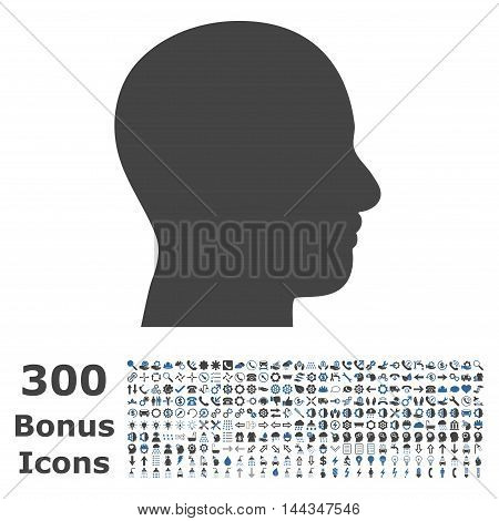 Head Profile icon with 300 bonus icons. Vector illustration style is flat iconic bicolor symbols, cobalt and gray colors, white background.