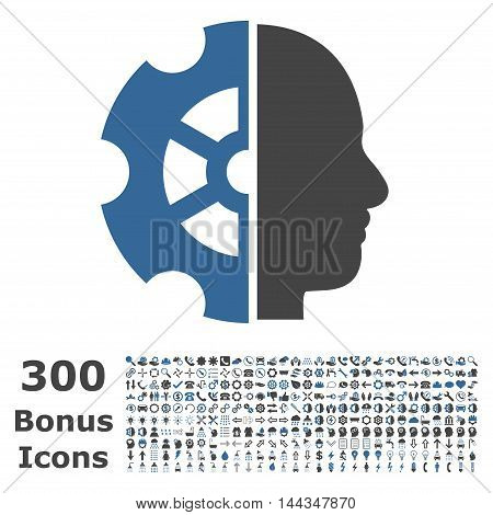 Intellect icon with 300 bonus icons. Vector illustration style is flat iconic bicolor symbols, cobalt and gray colors, white background.
