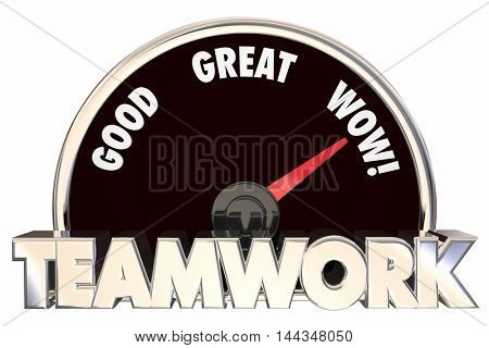 Teamwork Working Together Collaboration Cooperation Speedometer 3d Illustration