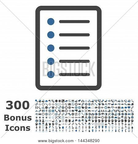 List Page icon with 300 bonus icons. Vector illustration style is flat iconic bicolor symbols, cobalt and gray colors, white background.