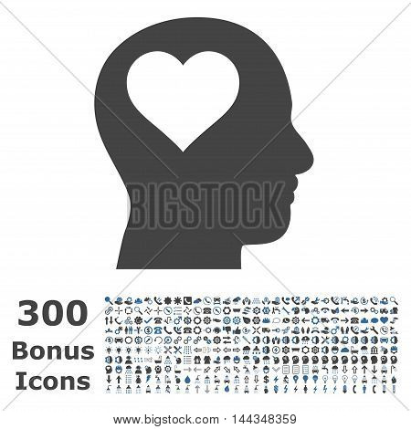 Lover Head icon with 300 bonus icons. Vector illustration style is flat iconic bicolor symbols, cobalt and gray colors, white background.