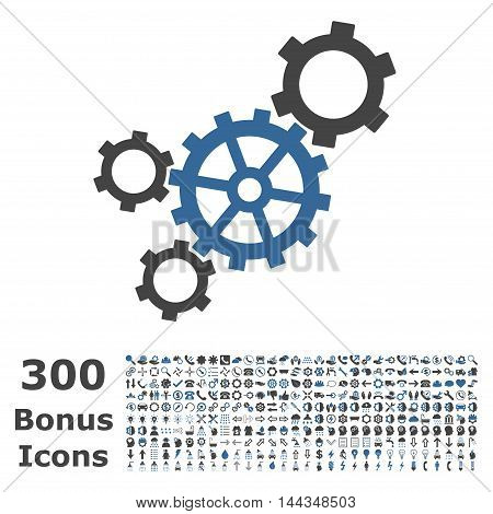 Mechanism icon with 300 bonus icons. Vector illustration style is flat iconic bicolor symbols, cobalt and gray colors, white background.