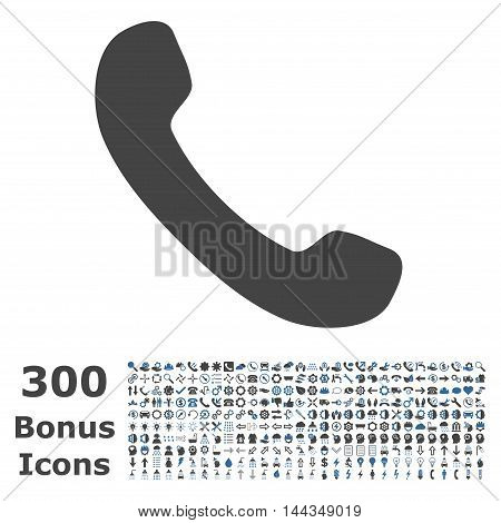 Phone Receiver icon with 300 bonus icons. Vector illustration style is flat iconic bicolor symbols, cobalt and gray colors, white background.