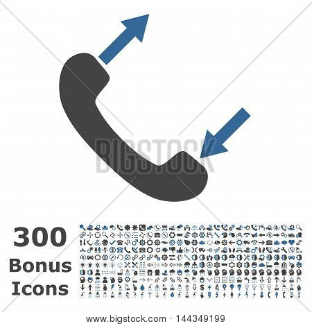 Phone Talking icon with 300 bonus icons. Vector illustration style is flat iconic bicolor symbols, cobalt and gray colors, white background.