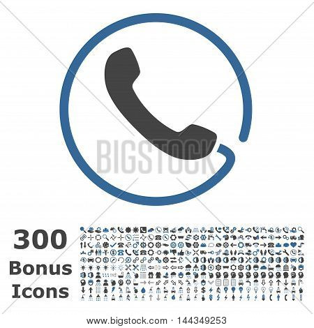 Phone icon with 300 bonus icons. Vector illustration style is flat iconic bicolor symbols, cobalt and gray colors, white background.