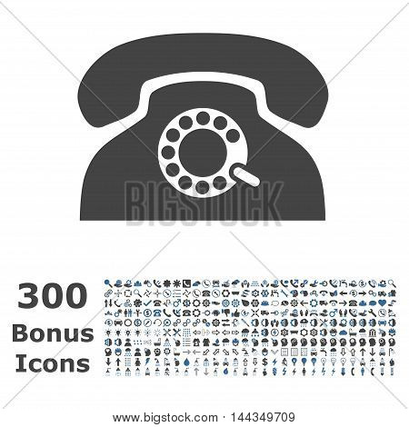 Pulse Phone icon with 300 bonus icons. Vector illustration style is flat iconic bicolor symbols, cobalt and gray colors, white background.