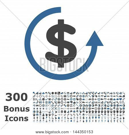 Refund icon with 300 bonus icons. Vector illustration style is flat iconic bicolor symbols, cobalt and gray colors, white background.