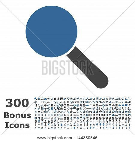 Search Tool icon with 300 bonus icons. Vector illustration style is flat iconic bicolor symbols, cobalt and gray colors, white background.