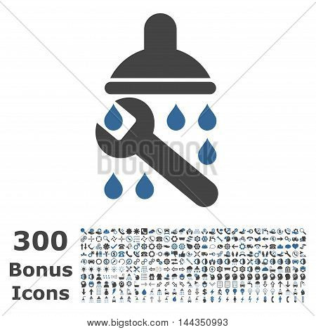 Shower Plumbing icon with 300 bonus icons. Vector illustration style is flat iconic bicolor symbols, cobalt and gray colors, white background.