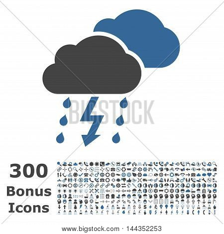 Thunderstorm icon with 300 bonus icons. Vector illustration style is flat iconic bicolor symbols, cobalt and gray colors, white background.