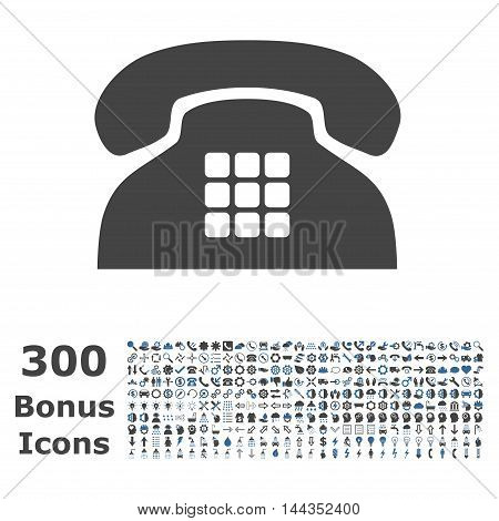 Tone Phone icon with 300 bonus icons. Vector illustration style is flat iconic bicolor symbols, cobalt and gray colors, white background.