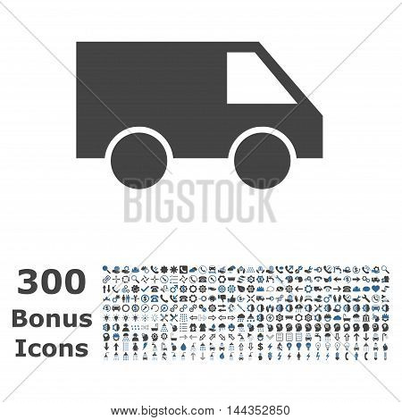 Van icon with 300 bonus icons. Vector illustration style is flat iconic bicolor symbols, cobalt and gray colors, white background.
