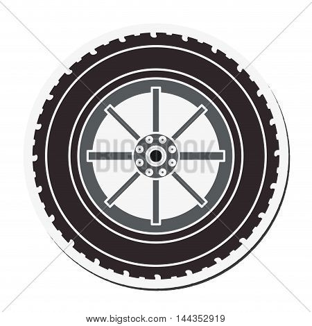 wheel car automobile circle machine part icon. Flat and Isolated design. Vector illustration