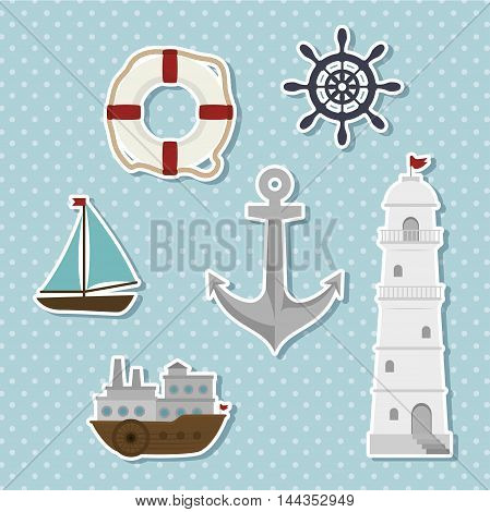 set of icons relating to the sea vector illustration graphic