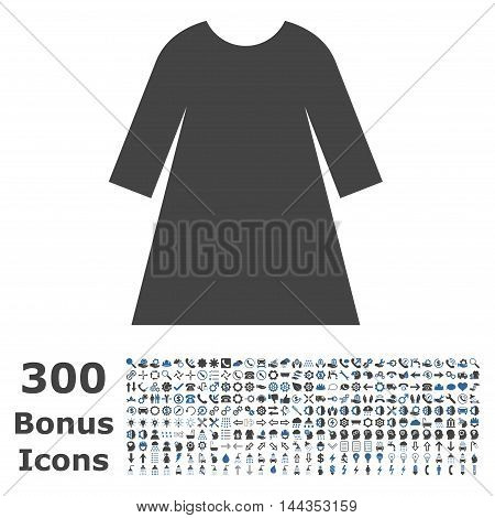Woman Dress icon with 300 bonus icons. Vector illustration style is flat iconic bicolor symbols, cobalt and gray colors, white background.