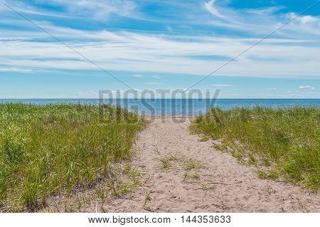 Sandy path to the beach (Cedar Dunes Provincial Park Prince Edward Island Canada)