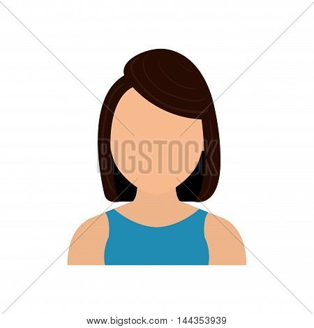 woman female girl head person icon. Isolated and flat illustration. Vector graphic