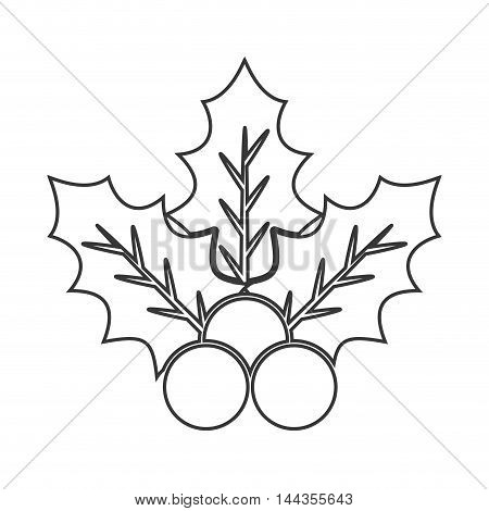 plant leaves merry christmas celebration icon. Flat and Isolated design. Vector illustration