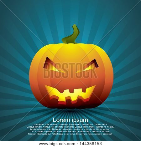 Graphic image of pumpkin carved into a ghost. Halloween Festival. Vector illustrator EPS 10