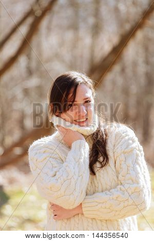 Fashion woman in country style sitting beautiful woman in spring forest
