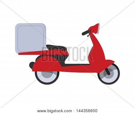 motorcycle box transportation delivery shipping icon. Flat and Isolated design. Vector illustration