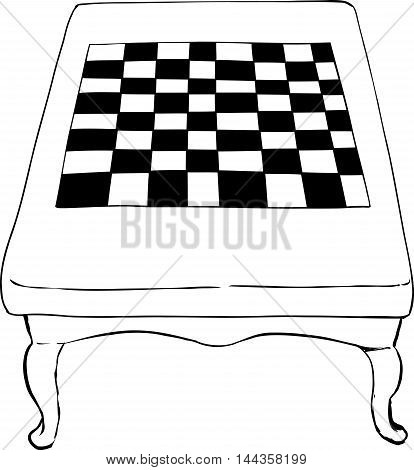 Outlined Chess Table With Short Legs