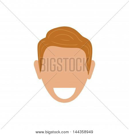 man male head smile avatar person icon. Isolated and flat illustration. Vector graphic