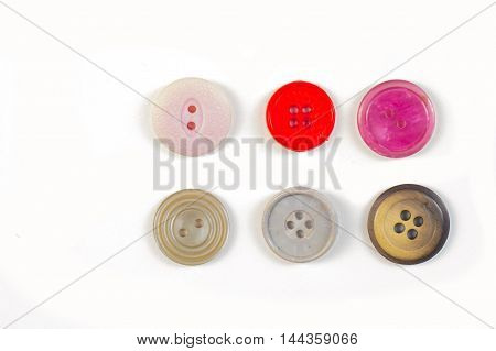 buttons. Photography Studio, round, sew, textile,, clothing, isolated,