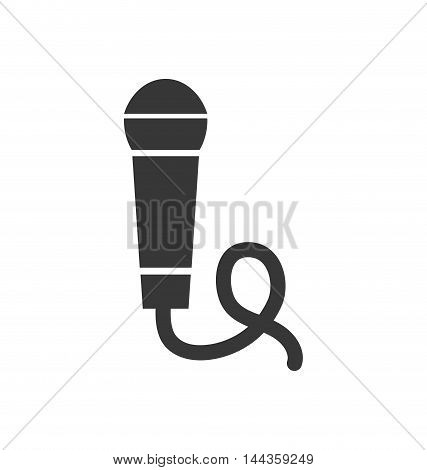 microphone music sound silhouette icon. Isolated and flat illustration. Vector graphic