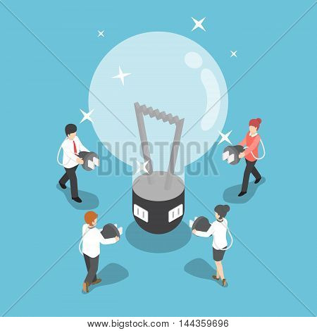 Isometric Business People Going To Recharge Idea From Big Light Bulb