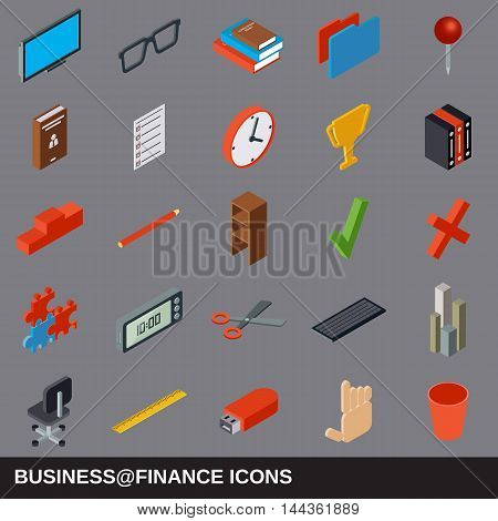 Business and finance flat isometric icons collection