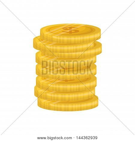 coins gold money financial market icon. Isolated and flat illustration. Vector graphic