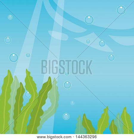 sea ocean algae blue background water bubbles illustration. Vector graphic