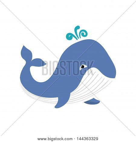 whale sea life animal cartoon icon. Isolated and flat illustration. Vector graphic
