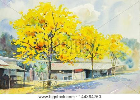 watercolor painting yellow orange color of goldentree flowers at roadside in sky and cloud background original painting.