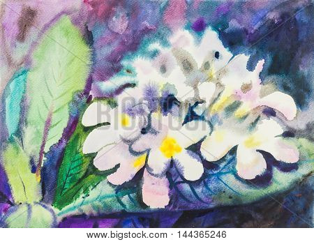 Watercolor original painting white color of frangipani flowes and green leaves.