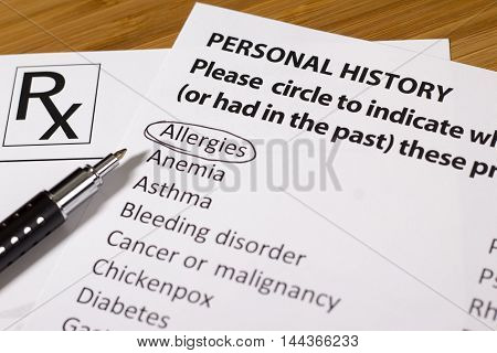 Health Evaluation Form with allergies check rx