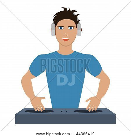 Smiling DJ with console on a white background